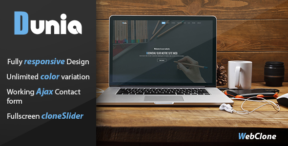 Dunia – Creative One Page Responsive HTML5 Template
