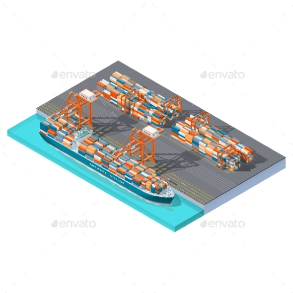 Modern Sea Container Terminal Isometric Icon Set - Miscellaneous Vectors