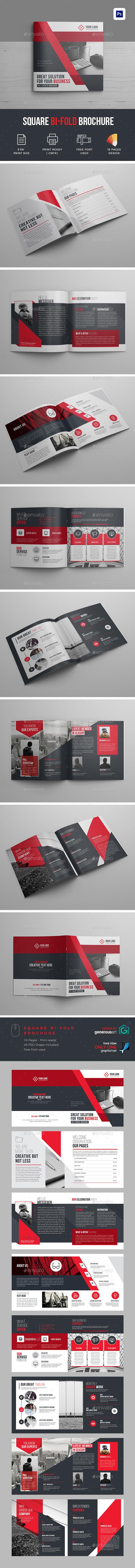 Creative Square Bi-Fold Brochure Template - Brochures Print Templates