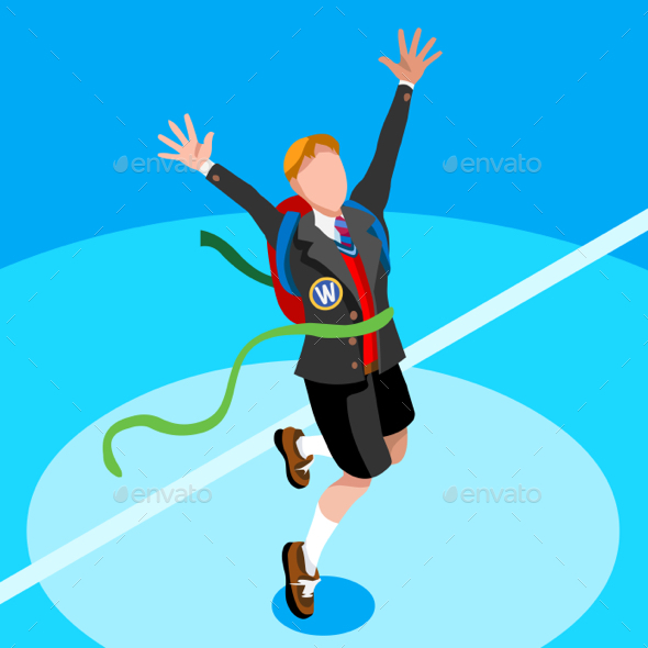 Student Isometric Person Vector Illustration - People Characters