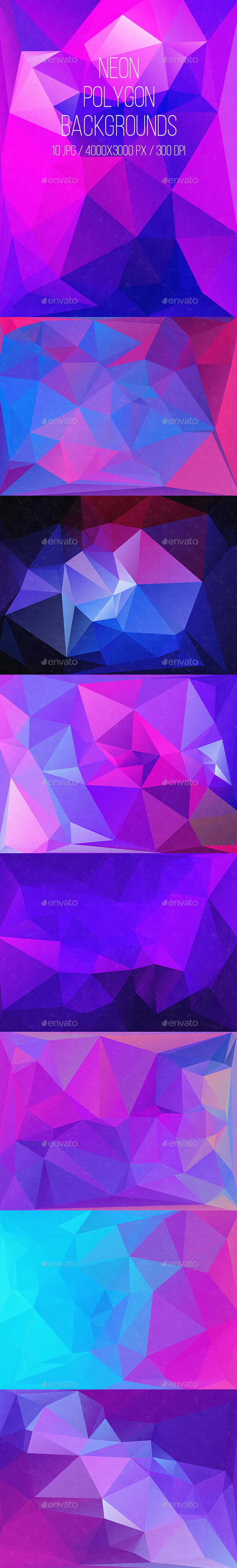 Neon Polygon Backgrounds - Abstract Backgrounds