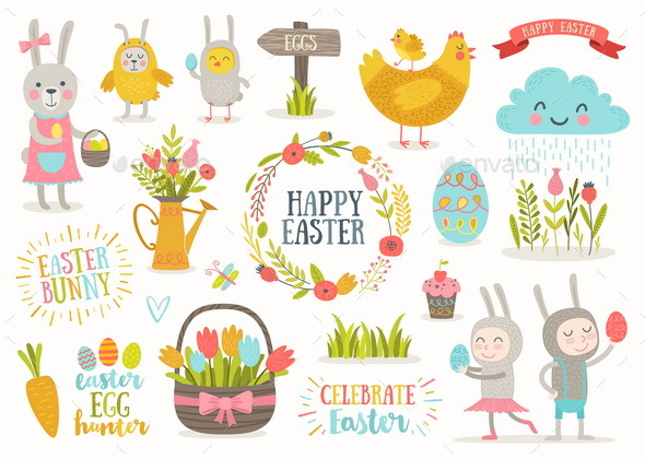 Set of Easter Greetings and Characters - Miscellaneous Seasons/Holidays
