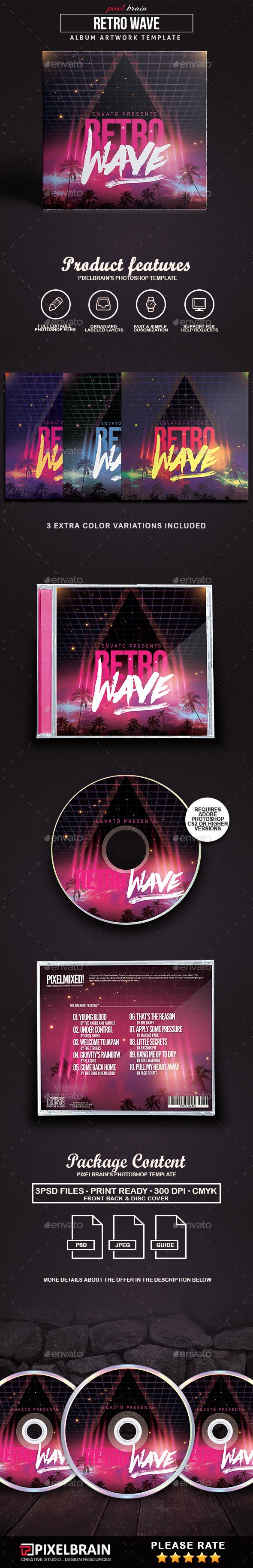 Retro Wave CD Cover Artwork - CD & DVD Artwork Print Templates