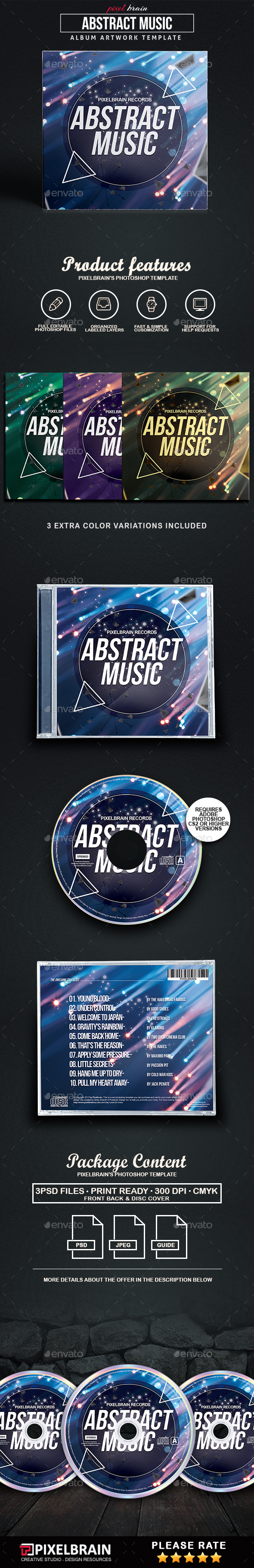 Abstract Music CD Cover Artwork - CD & DVD Artwork Print Templates