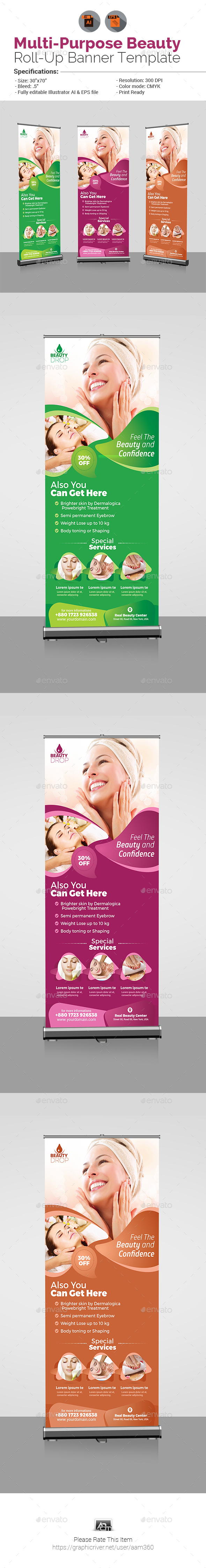 Multi-Purpose Beauty Roll-Up Banner - Signage Print Templates