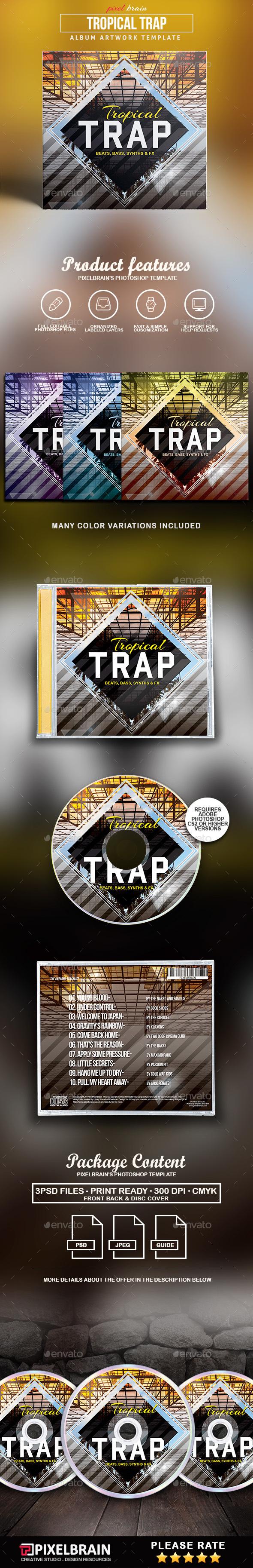 Tropical Trap CD Cover Artwork - CD & DVD Artwork Print Templates