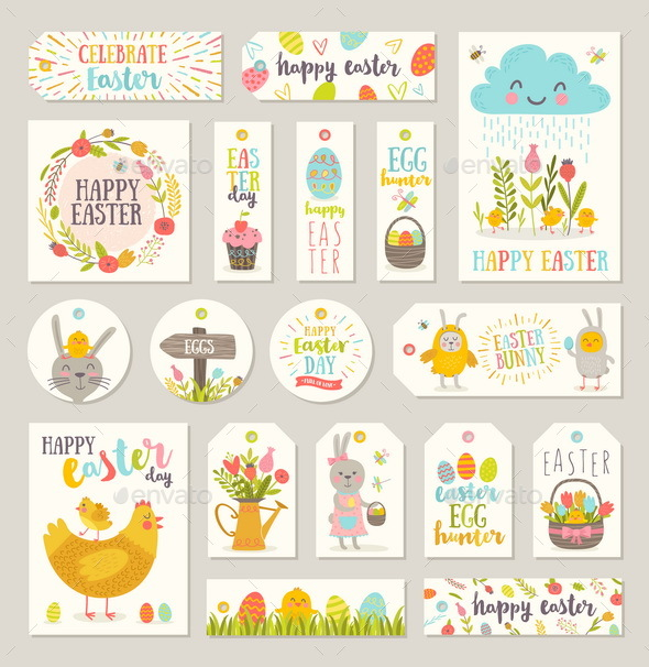 Set of Easter Gift Tags and Labels - Miscellaneous Vectors