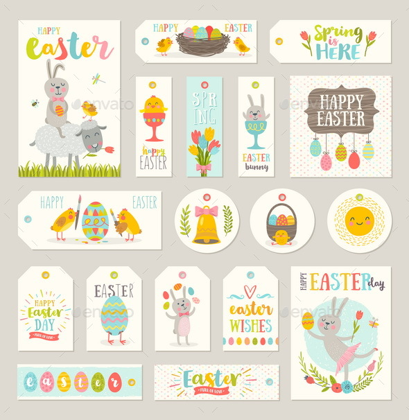 Set of Easter Gift Tags and Labels - Miscellaneous Seasons/Holidays