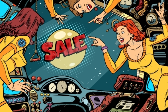 Sale and Women Astronauts in the Cabin - Concepts Business