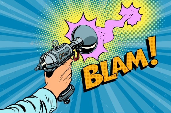 Blam Science Fiction Shot of a Blaster Comic Cloud - Retro Technology