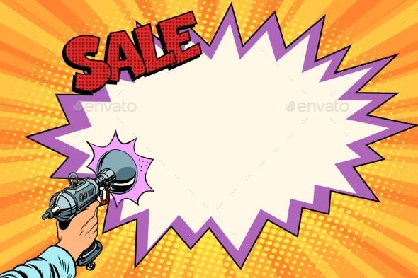 Sale Comic Cloud Science Fiction Shot of a Blaster - Retro Technology