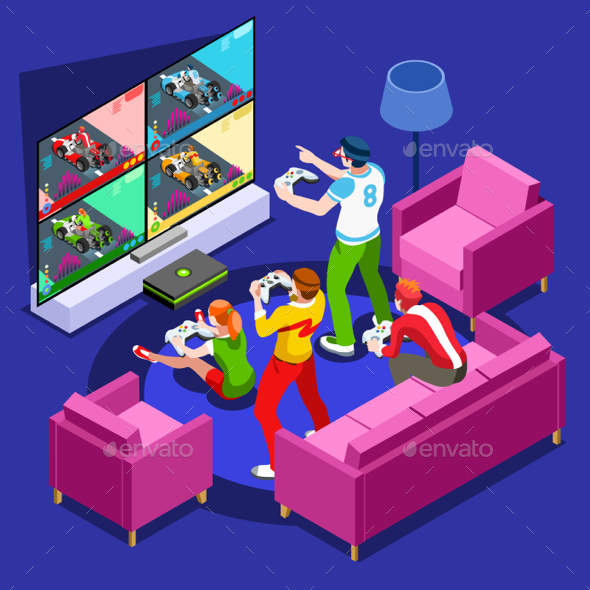 Video Game Console Gaming Isometric Person Vector Illustration - Computers Technology