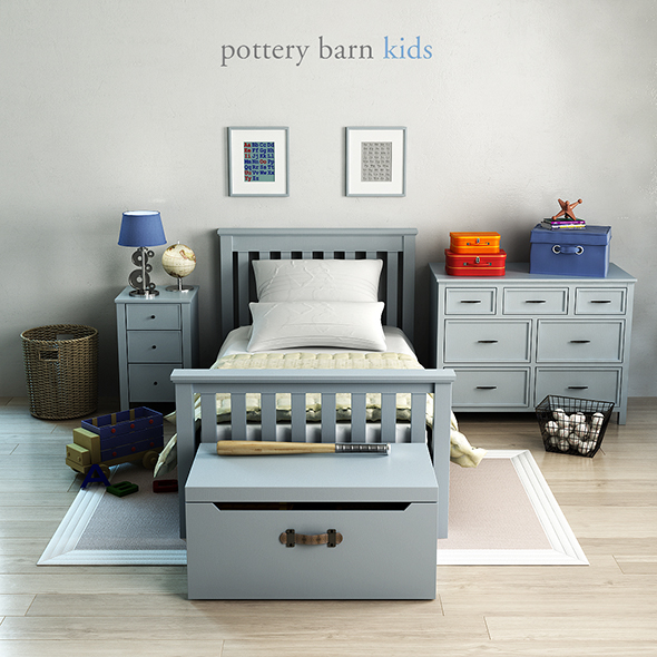 Pottery barn, Elliott Bed - 3DOcean Item for Sale
