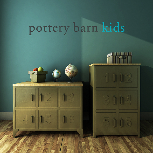 Pottery Barn Kids, Metal and Wood Numbers Cabinet. - 3DOcean Item for Sale