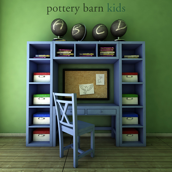 PotteryBarn, Preston Desk & Storage Wall System. - 3DOcean Item for Sale
