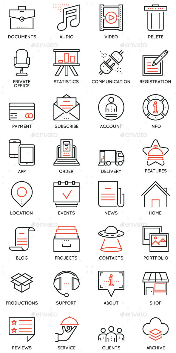 Maintain and Service Icons - Media Icons