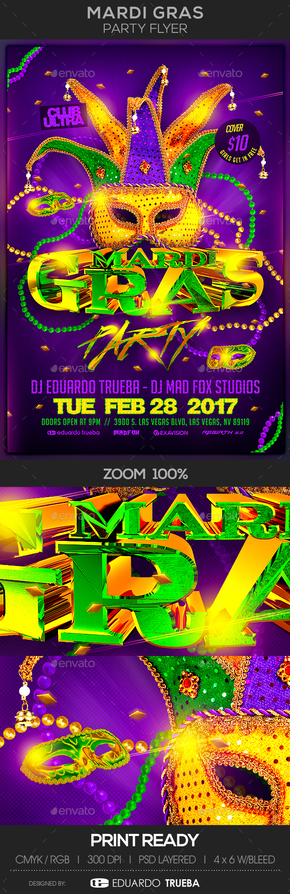 Mardi Gras Party Flyer - Events Flyers