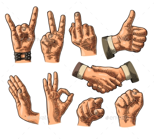 Male and Female Hand Sign - People Characters