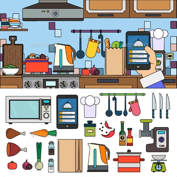 Cooking at Home Using Online App - Man-made Objects Objects