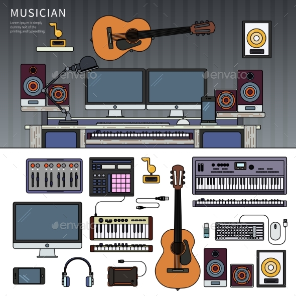 Musician Workspace with Musical Instruments - Computers Technology