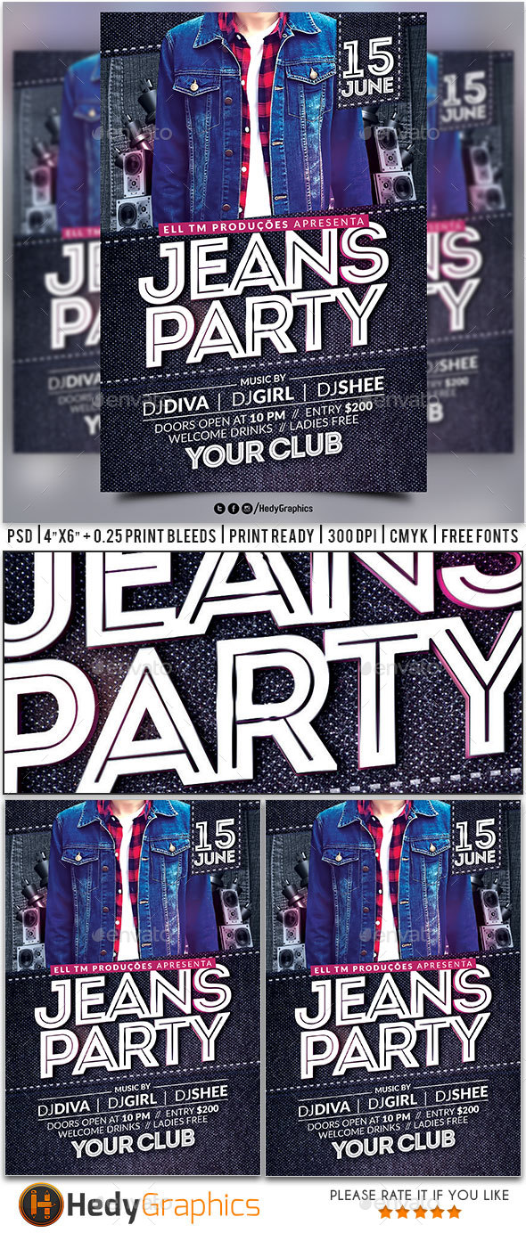 Jeans Party Flyer - Clubs & Parties Events