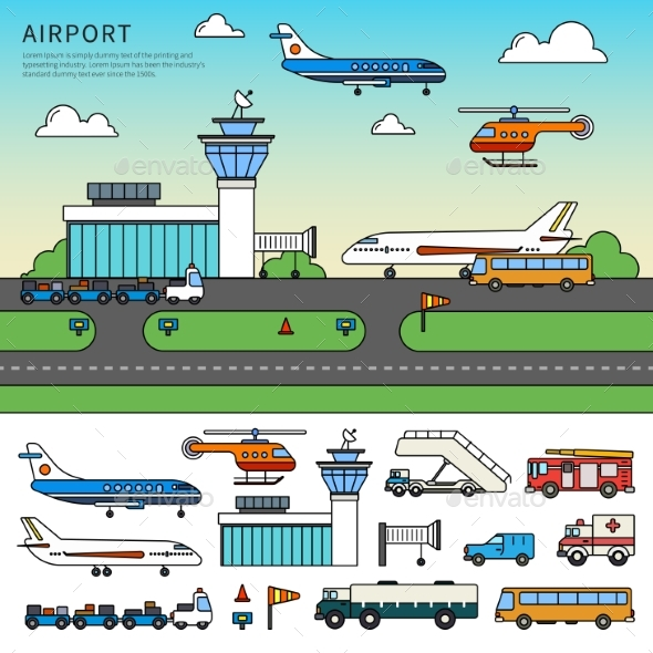 Different Types of Transport in the Airport - Travel Conceptual