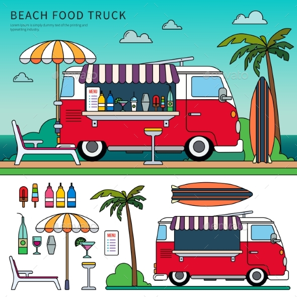 Food Truck on the Beach - Travel Conceptual