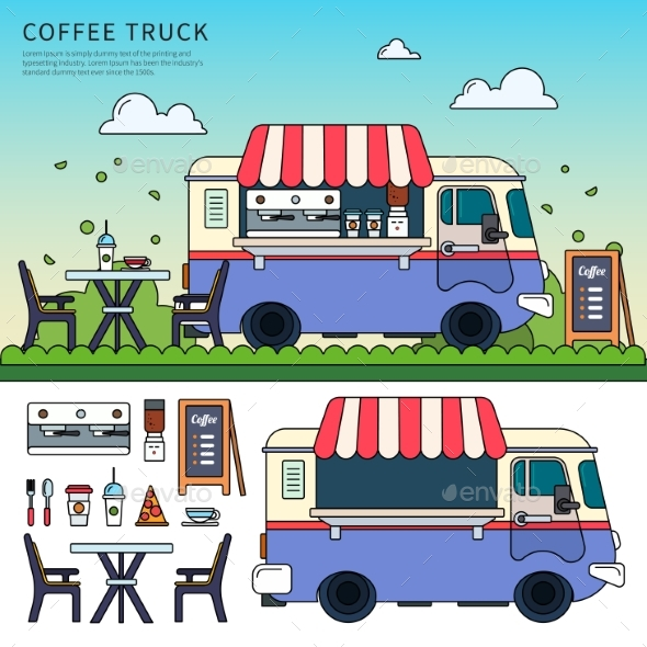 Coffee Truck on the Street - Food Objects