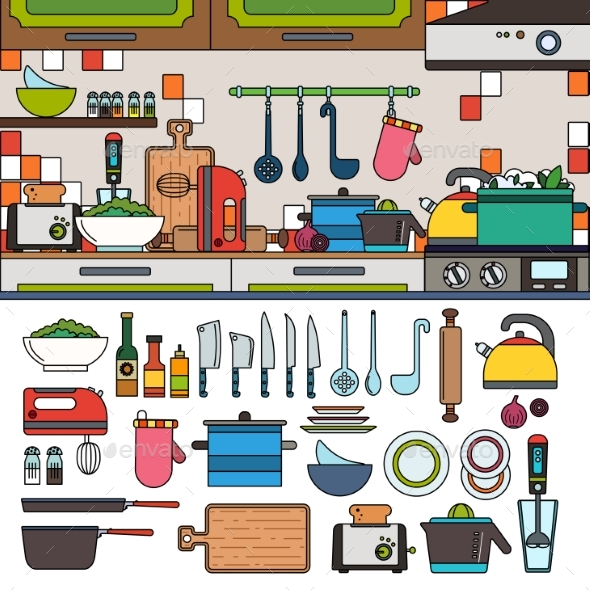 Cooking Tools and Utensils in the Kitchen - Food Objects