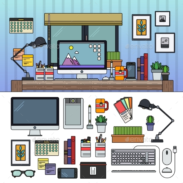 Designer Working Place - Computers Technology