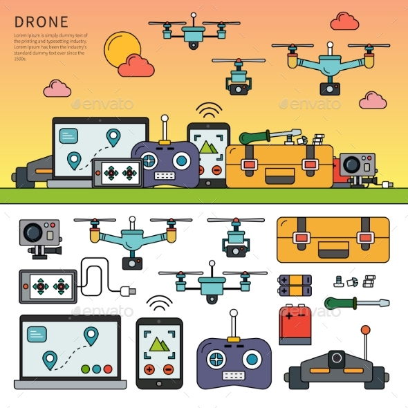 Drone Devices Line Flat Vector - Computers Technology