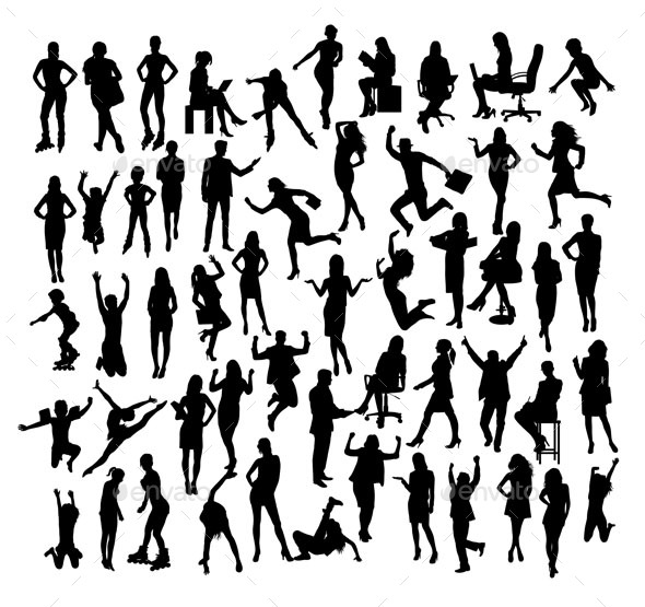 People and Activity Silhouettes - People Characters