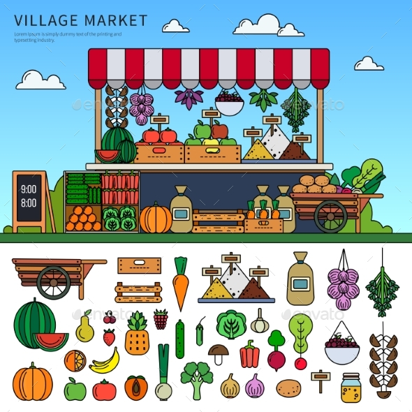 Food Market in the Village - Food Objects