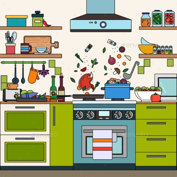 Home Kitchen Interior - Food Objects