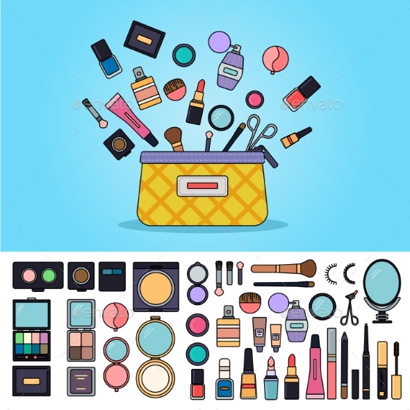 Bag Full of Cosmetics - Man-made Objects Objects
