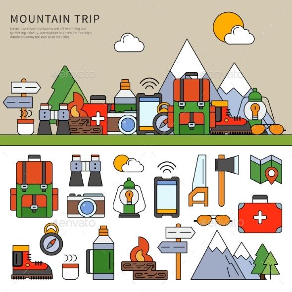 Set for Mountain Trip - Travel Conceptual