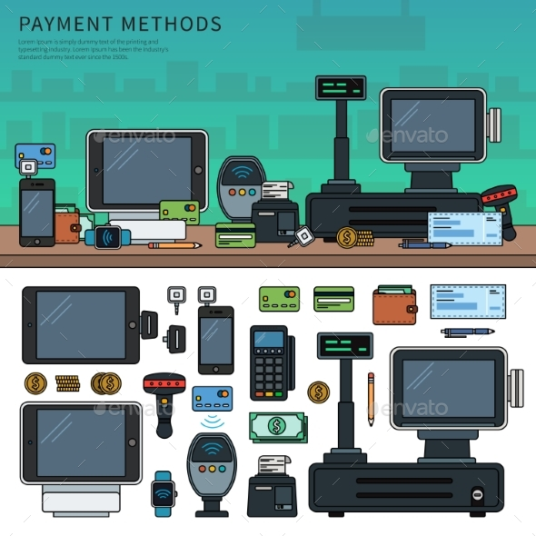 Payment Methods with Devices on the Table - Retail Commercial / Shopping