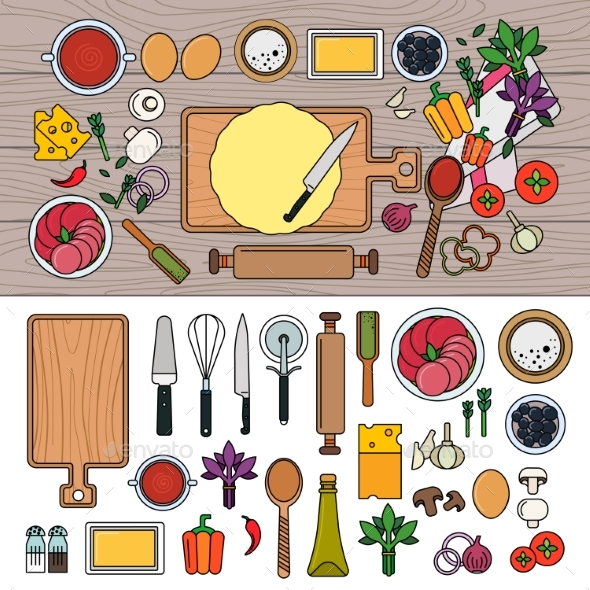Cooking Pizza with Ingredients on Wooden Table - Food Objects