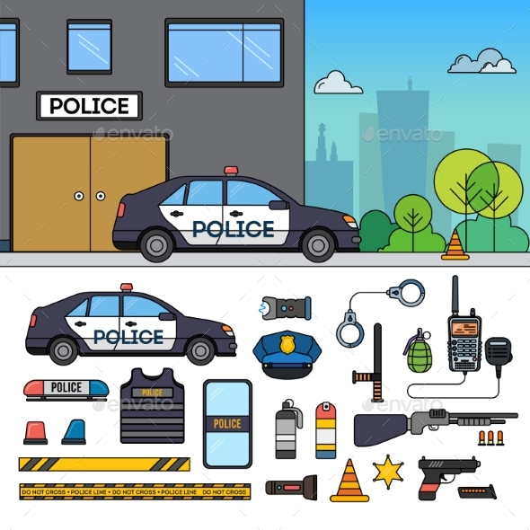 Police Car Near Police Department - Man-made Objects Objects