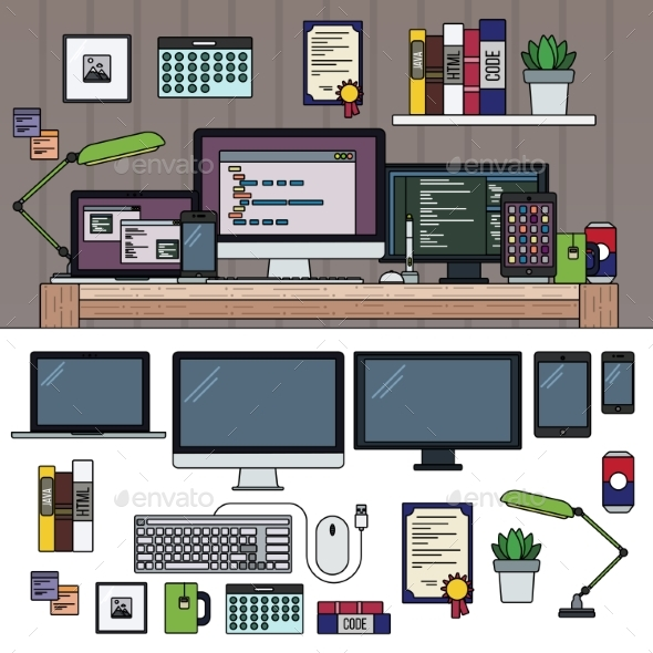 Programmer Working Cabinet - Computers Technology