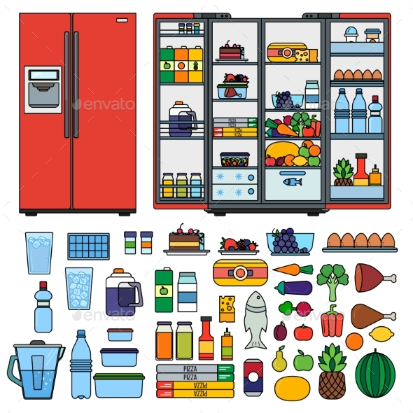 Refrigerator with Products Flat Line Vector - Food Objects