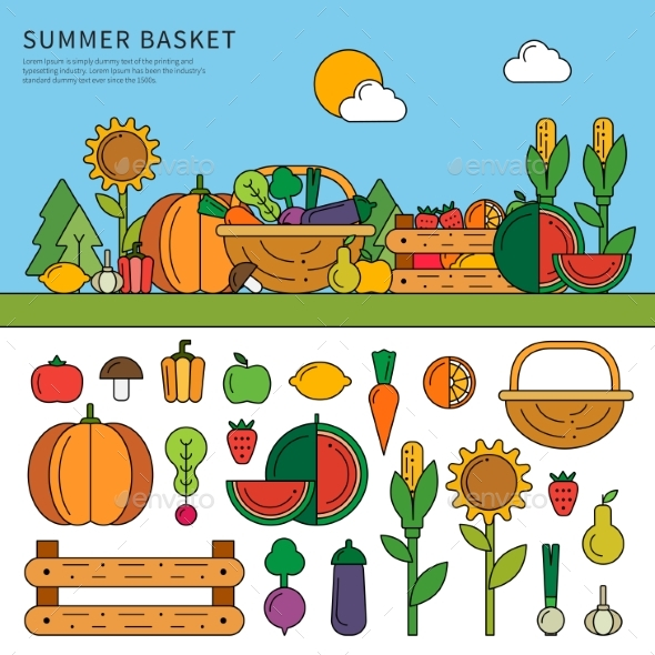 Summer Basket with Vitamins - Food Objects