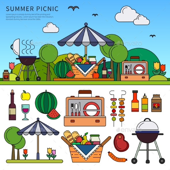 Picnic on Summer Day - Food Objects