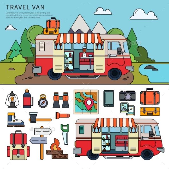 Travel Van Near the Sea - Travel Conceptual