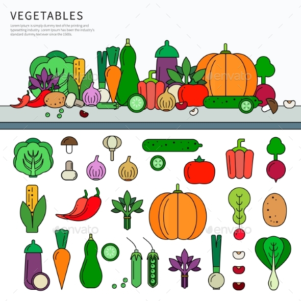 Vegetables Set Flat Line - Food Objects