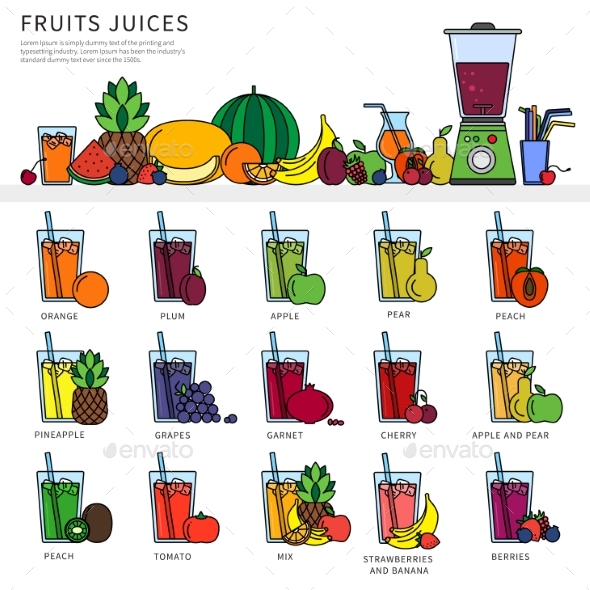 Glasses with Fresh Juices on the Table - Food Objects