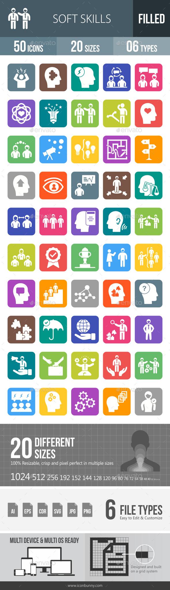 Soft Skills Flat Round Corner Icons - Icons