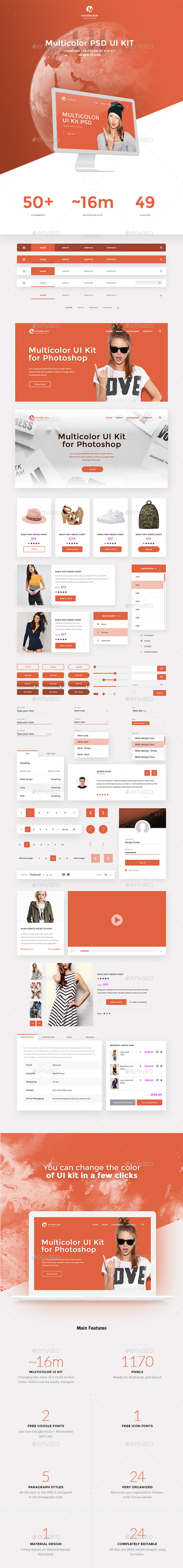 Moderate - Multicolor UI-Kit PSD - User Interfaces Web Elements