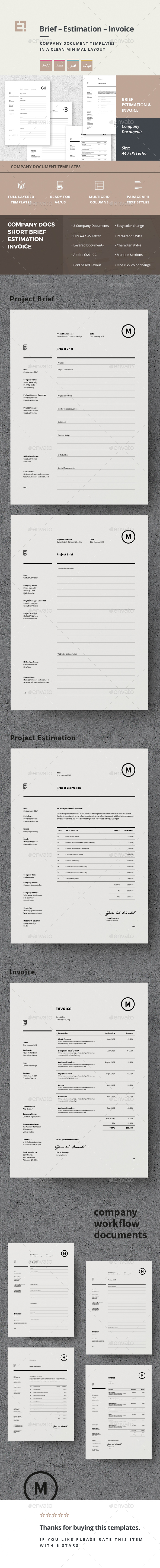 Invoice Estimation Brief - Proposals & Invoices Stationery