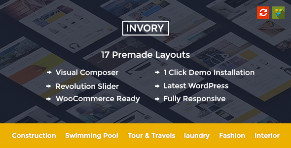Invory - Pool, Cleaning, Laundry, Construction, Travel WordPress Theme - Corporate WordPress